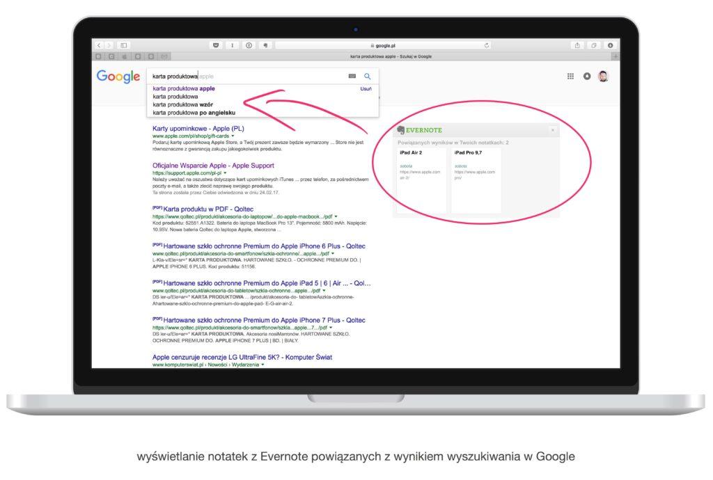 Wyszukiwanie notatek w google z sugestiami Evernote